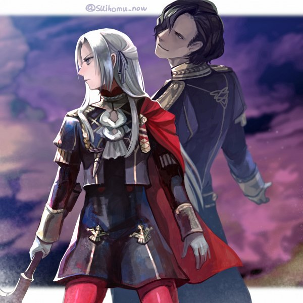 Tags: Anime, Suikomu Now, Fire Emblem: Fuuka Setsugetsu, Hubert von Vestra, Edelgard von Hræsvelgr, Twitter, Fire Emblem: Three Houses