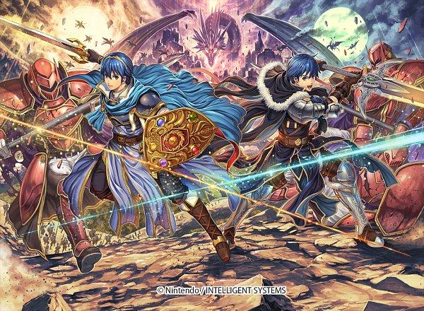 Tags: Anime, Izuka Daisuke, Intelligent Systems, Fire Emblem: Monshou no Nazo, Chris (Male) (Fire Emblem), Marth (Fire Emblem), Mediuth, Pegasus, Manakete, Emblem, Fire Emblem Mystery Of The Emblem
