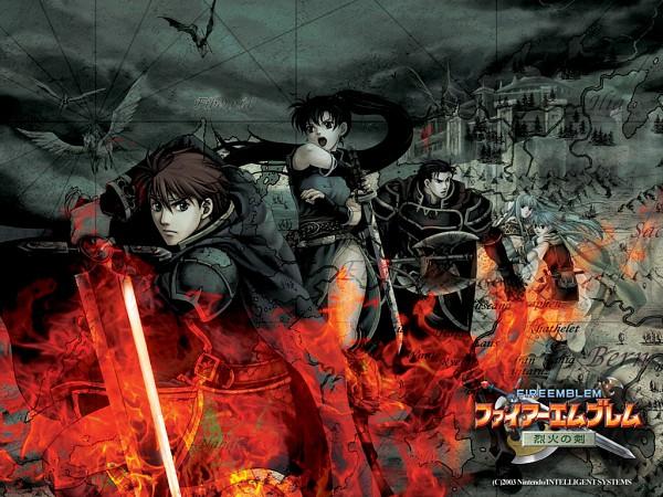 Tags: Anime, Fire Emblem: Rekka no Ken, Lyn (Fire Emblem), Hector (Fire Emblem), Ninian (Fire Emblem), Eliwod, Nils, Wallpaper, Official Art, Fire Emblem: Blazing Sword