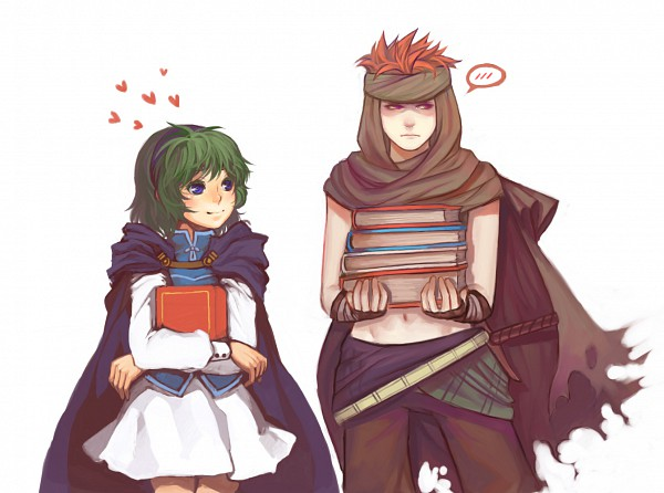 Tags: Anime, ippus, Fire Emblem: Rekka no Ken, Nino (Fire Emblem), Jaffar (Fire Emblem), Stack Of Books, Assassin, deviantART, Fanart, Fire Emblem: Blazing Sword