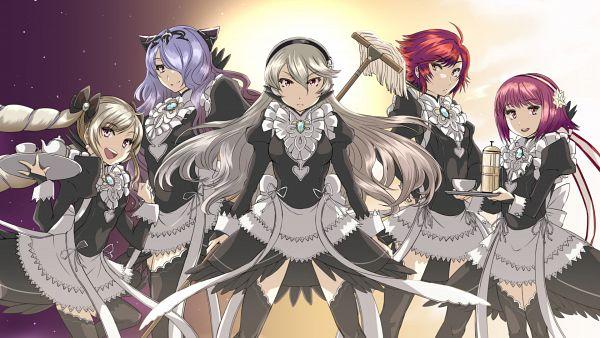 Tags: Anime, Pixiv Id 4827223, Fire Emblem If, Elise (Fire Emblem), Hinoka (Fire Emblem), Camilla (Fire Emblem), Kamui (Female) (Fire Emblem), Sakura (Fire Emblem), Mop, Wallpaper, HD Wallpaper, Fire Emblem Fates