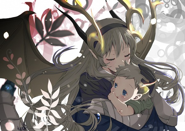 Tags: Anime, Pixiv Id 12140685, Fire Emblem If, Kamui (Female) (Fire Emblem), Kanna (Fire Emblem), Holding Baby, Dragon Tail, Dragon Wings, Kiss On Hair, Fanart From Pixiv, Pixiv, Fanart, Fire Emblem Fates