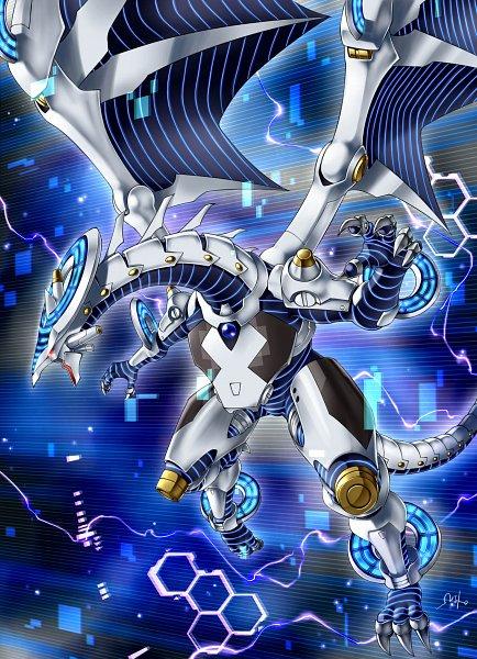 Tags: Anime, Pixiv Id 1380126, Yu-Gi-Oh! VRAINS, Yu-Gi-Oh!, Firewall Dragon, Blue Gem, Honeycomb Pattern, Square, Pixiv, Fanart From Pixiv, Fanart