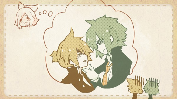 Tags: Anime, Pixiv Id 32248, VOCALOID, GUMI, Kagamine Len, Kagamine Rin, = =, Dreaming, Thinking, HD Wallpaper, Wallpaper, Facebook Cover, First Love Academy・School of True Love