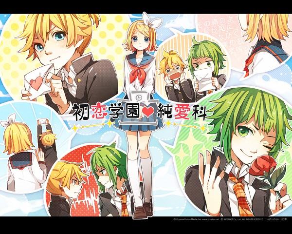 Tags: Anime, Tama Songe, VOCALOID, GUMI, Kagamine Len, Kagamine Rin, Love Letter, Heartbeat, Wallpaper, First Love Academy・School of True Love