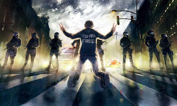 Tags: Anime, Wenqing Yan, Fisheye Placebo, Police Car, Traffic Light, deviantART, Original
