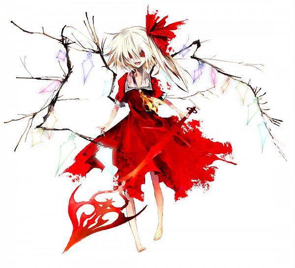 Tags: Anime, Banpai Akira, Frontier Aja, Touhou, Koumajou Densetsu, Flandre Scarlet, Laevatein, Official Art