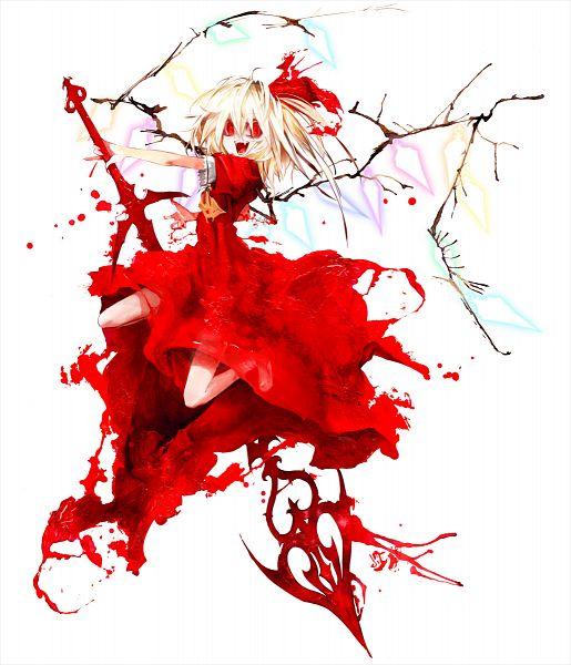 Tags: Anime, Banpai Akira, ZUN, Frontier Aja, Koumajou Densetsu, Touhou, Flandre Scarlet, Laevatein, Official Art, Fancy Winged Flandre