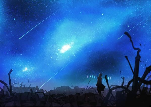 Tags: Anime, Pochiharu, Touhou, Flandre Scarlet, Milky Way, Galaxy, Shooting Stars, Pixiv