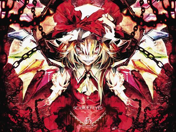 Tags: Anime, Banpai Akira, ALiCE'S EMOTiON, Touhou, Flandre Scarlet, Creepy Smile, Wallpaper, SCARLET EYES, Fancy Winged Flandre