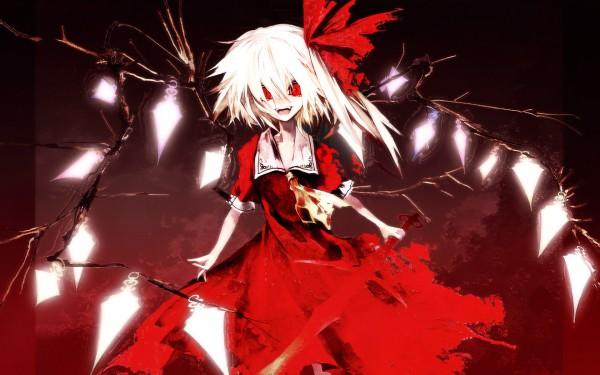 Tags: Anime, Banpai Akira, Koumajou Densetsu, Touhou, Flandre Scarlet, Laevatein, Wallpaper, Pixiv, Fancy Winged Flandre