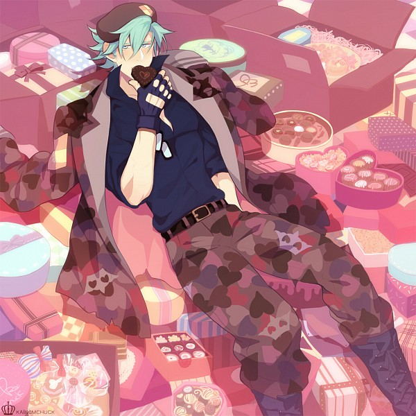 Tags: Anime, KAB00M CHUCK, Happy Tree Friends, Flippy, Chocolate Box, Fanart, Fanart From Pixiv, PNG Conversion, Pixiv