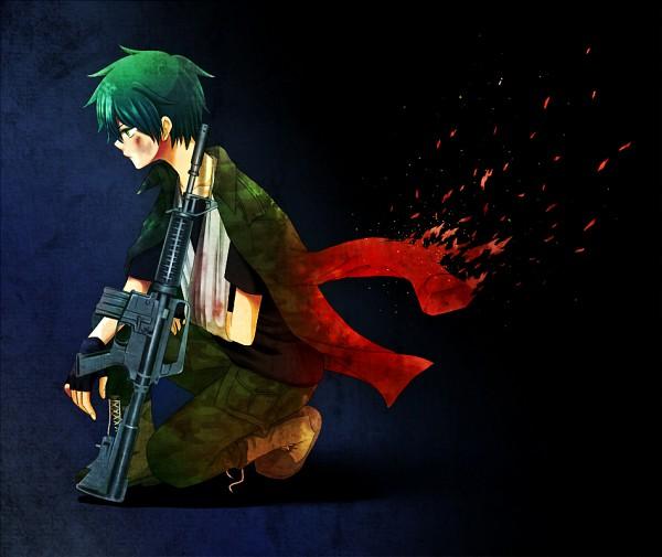 Tags: Anime, Uniikura, Happy Tree Friends, Call of Duty, Flippy, Assault Rifle, Sling, Arm Sling, Fanart, Pixiv