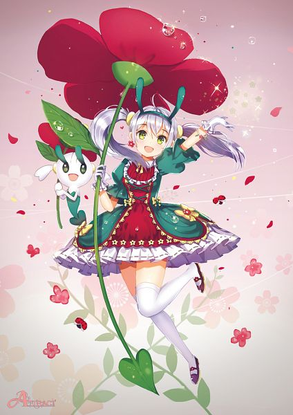 Tags: Anime, Dangmill, Pokémon, Floette, Ladybug, Mobile Wallpaper, Pixiv, Fanart, Fanart From Pixiv