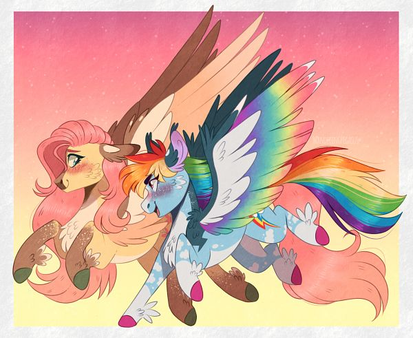 Tags: Anime, WanderingPegasus, My Little Pony, Fluttershy, Rainbow Dash, Cutie Mark, Pony, Fanart From DeviantART, deviantART, Fanart, Flutterdash