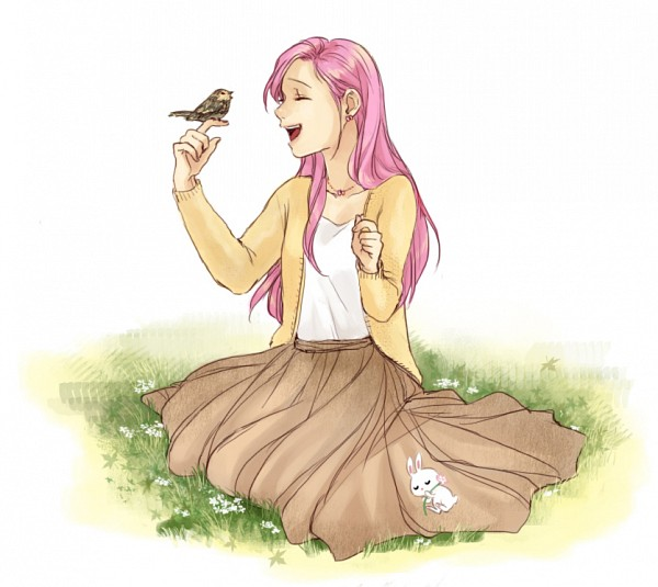 Tags: Anime, 2holic, My Little Pony, Fluttershy, Angel (My Little Pony), Bird on Hand, Fanart, Tumblr
