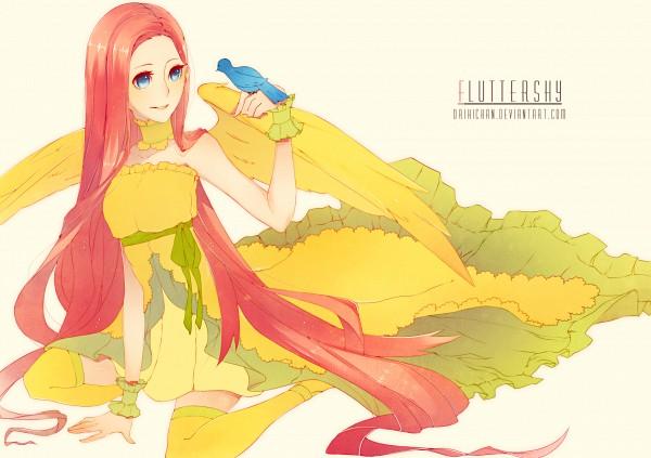 Tags: Anime, Khaizusan, My Little Pony, Fluttershy, Yellow Legwear, Blue Bird, Fanart From DeviantART, deviantART, Fanart