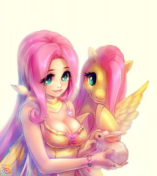 Tags: Anime, E-X-P-I-E, My Little Pony, Fluttershy, Angel (My Little Pony), Fanart, PNG Conversion, deviantART, Fanart From DeviantART