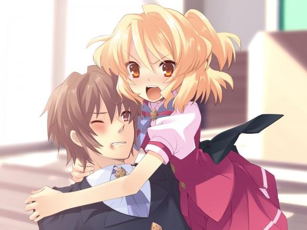 Tags: Anime, Flyable Heart, Katsuragi Shou, Sumeragi Amane, Bruise, Pounce, CG Art
