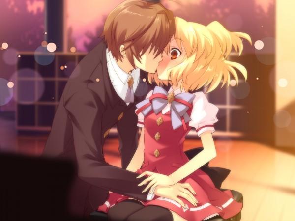 Tags: Anime, Flyable Heart, Sumeragi Amane, Katsuragi Shou, Surprise Kiss, CG Art