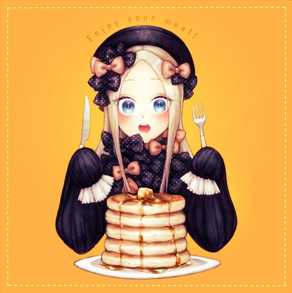 Tags: Anime, Ohagi (Ymnky), Fate/Grand Order, Foreigner (Abigail Williams), Pancakes, Holding Fork, Fanart, Fanart From Pixiv, Pixiv