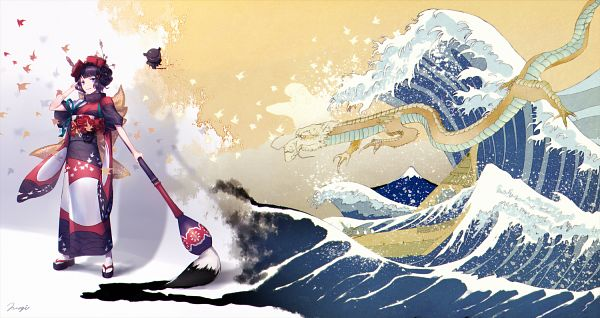 Tags: Anime, Pixiv Id 2912049, Fate/Grand Order, Foreigner (Katsushika Hokusai), Waves, Painting (Action), Fanart, Fanart From Pixiv, Pixiv