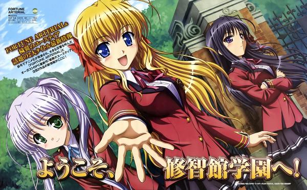 Tags: Anime, Ishihara Megumi, August (Studio), Fortune Arterial, Tougi Shiro, Sendou Erika, Kuze Kiriha, Wallpaper