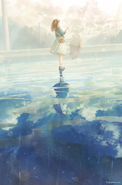 Tags: Anime, Fo~Do, Different Reflection, Transparent Object, See Through Umbrella, Mobile Wallpaper, Pixiv, Original