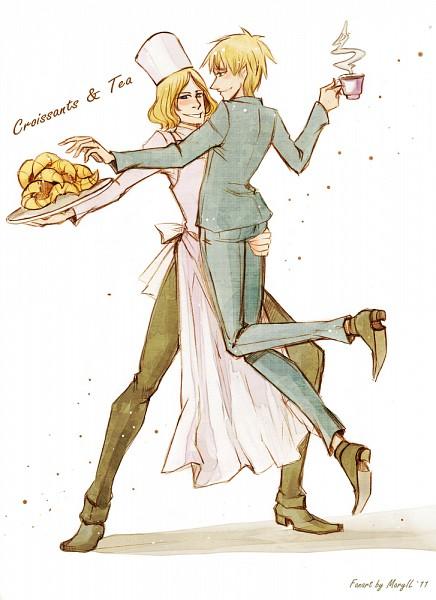 Tags: Anime, Axis Powers: Hetalia, France, United Kingdom, Croissant, Mobile Wallpaper, Artist Request, FrUK
