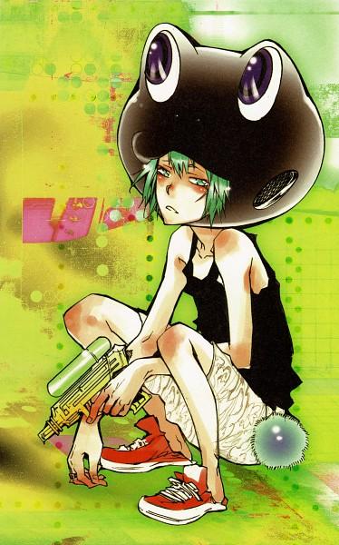 Tags: Anime, Amano Akira, Katekyo Hitman REBORN!, Fran, Water Gun, Frog Hat, Mobile Wallpaper, Scan, Official Art