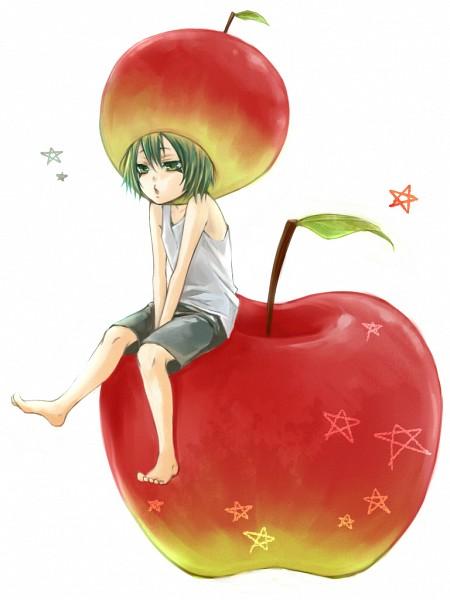 Tags: Anime, Amaichi Esora, Katekyo Hitman REBORN!, Fran, Sitting on Food, Apple Hat, Pixiv