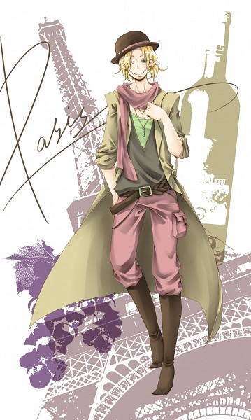 Tags: Anime, Axis Powers: Hetalia, France, Bowler Hat, Eiffel Tower, Paris (Town), Mobile Wallpaper, Pixiv, Allied Forces