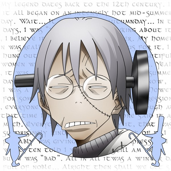 Tags: Anime, SQUARE ENIX, SOUL EATER, Excalibur (SOUL EATER), Franken Stein, Screw In Head, Text Background, Screws, Excalibur-face