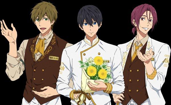 Tags: Anime, Kyoto Animation, Free!, Free!: Road To The World - Yume, Tachibana Makoto, Matsuoka Rin, Nanase Haruka (Free!), Chef Uniform, Product Advertising, Official Art