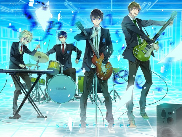 Tags: Anime, hash, Free!, Tachibana Makoto, Hazuki Nagisa, Ryuugazaki Rei, Nanase Haruka (Free!), Drum, Fanart, Pixiv