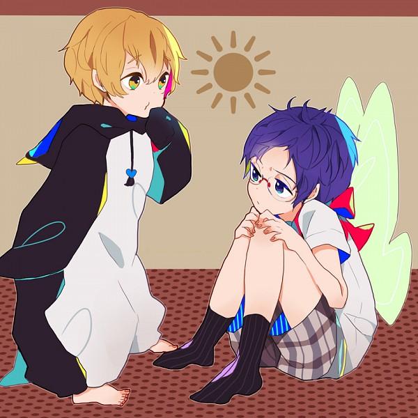 Tags: Anime, Pixiv Id 1352630, Free!, Ryuugazaki Rei, Hazuki Nagisa, Bird Costume, Pixiv, Fanart, ReiGisa