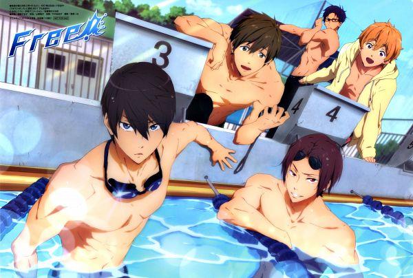 Tags: Anime, Kyoto Animation, Free!, Nanase Haruka (Free!), Tachibana Makoto, Matsuoka Rin, Ryuugazaki Rei, Hazuki Nagisa, Jammer, Goggles Around Neck, Official Art, Scan