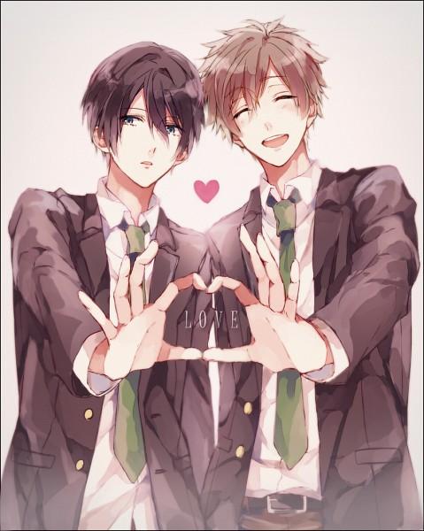 Tags: Anime, Pixiv Id 4747381, Free!, Nanase Haruka (Free!), Tachibana Makoto, Heart Gesture Duo, Pixiv, Fanart, MakoHaru