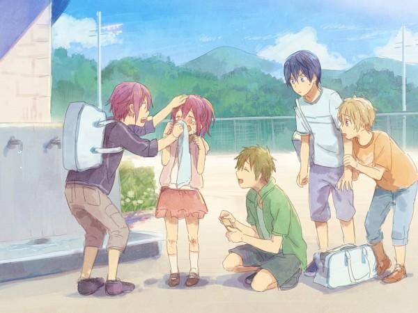 Tags: Anime, Free!, Matsuoka Gou, Hazuki Nagisa, Nanase Haruka (Free!), Tachibana Makoto, Matsuoka Rin, Pixiv, Wallpaper