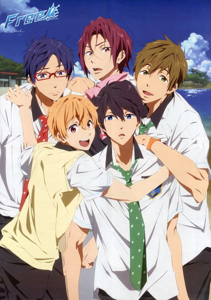 Tags: Anime, Kyoto Animation, Free!, Nanase Haruka (Free!), Tachibana Makoto, Matsuoka Rin, Ryuugazaki Rei, Hazuki Nagisa, Official Art, Scan, Mobile Wallpaper