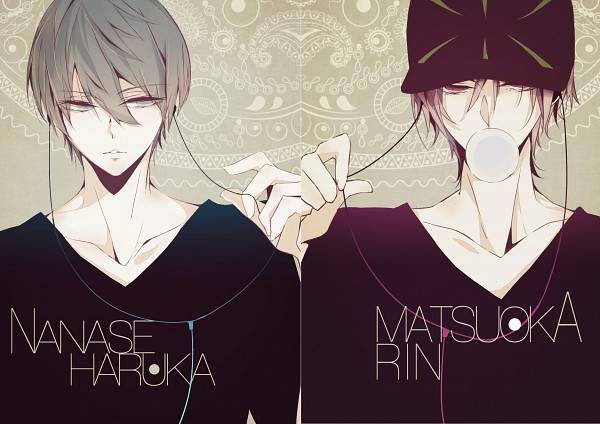 Tags: Anime, Youshima, Free!, Nanase Haruka (Free!), Matsuoka Rin, Earbuds, Fanart From Pixiv, Pixiv, Fanart