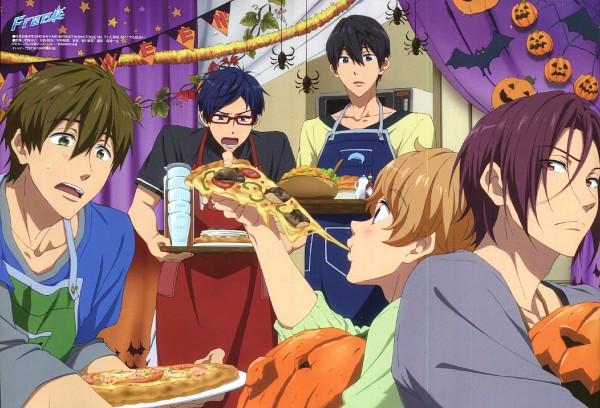 Tags: Anime, Nishiya Futoshi, Free!, Nanase Haruka (Free!), Tachibana Makoto, Matsuoka Rin, Ryuugazaki Rei, Hazuki Nagisa, Pizza, Pizza Hut, Scan, Replacement Request, Official Art