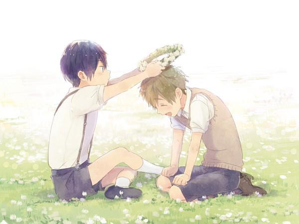 Tags: Anime, Zukki, Free!, Nanase Haruka (Free!), Tachibana Makoto, Sitting On Grass, Fanart From Pixiv, Pixiv, Fanart, MakoHaru