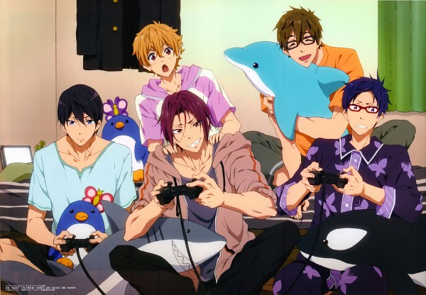 Tags: Anime, Kyoto Animation, Free!, Ryuugazaki Rei, Hazuki Nagisa, Nanase Haruka (Free!), Tachibana Makoto, Matsuoka Rin, Playing Games, Grub, Scan, Official Art