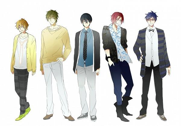 Tags: Anime, 【HZ】, Free!, Matsuoka Rin, Ryuugazaki Rei, Hazuki Nagisa, Nanase Haruka (Free!), Tachibana Makoto, Fanart, Fanart From Pixiv, Pixiv