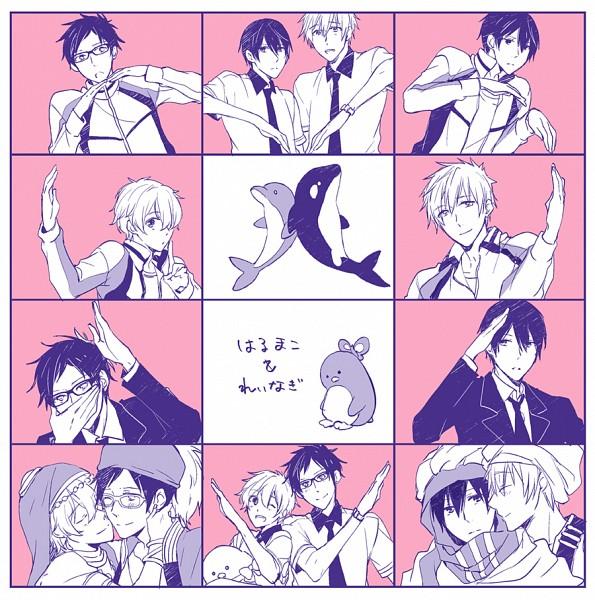 Tags: Anime, Pixiv Id 560360, Free!, Nanase Haruka (Free!), Tachibana Makoto, Hazuki Nagisa, Ryuugazaki Rei, Heart Gesture Duo, Hātotoresu