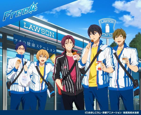 Tags: Anime, Kyoto Animation, Free!, Nanase Haruka (Free!), Tachibana Makoto, Matsuoka Rin, Ryuugazaki Rei, Hazuki Nagisa, Juice, Market, Looking At Food, Lawson, Official Art