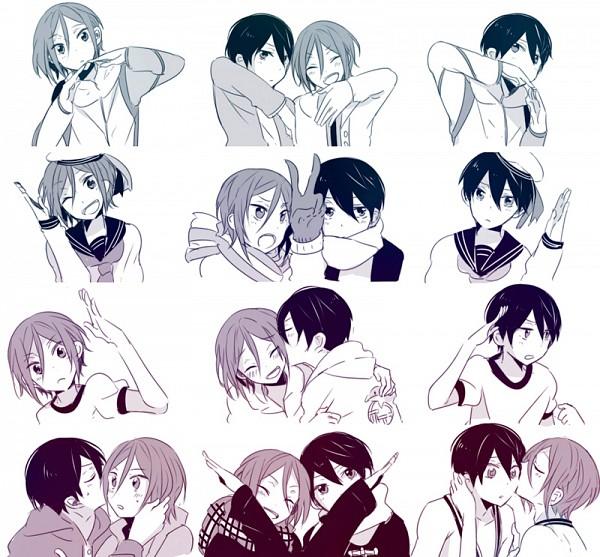 Tags: Anime, Chidori (@Rom), Free!, Nanase Haruka (Free!), Matsuoka Rin, Heart Gesture Duo, Pixiv, Fanart, Hātotoresu, Fanart From Pixiv
