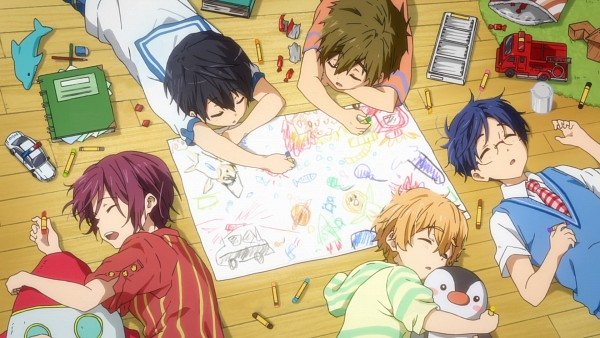 Tags: Anime, Kyoto Animation, Free!, Tachibana Makoto, Matsuoka Rin, Ryuugazaki Rei, Hazuki Nagisa, Nanase Haruka (Free!), Hugging Toy, Drawing (Action), Wallpaper, Official Art, Facebook Cover
