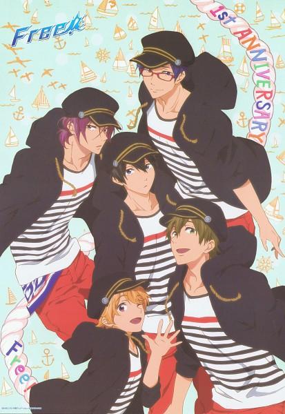 Tags: Anime, Kyoto Animation, Free!, Matsuoka Rin, Ryuugazaki Rei, Hazuki Nagisa, Nanase Haruka (Free!), Tachibana Makoto, Scan, Mobile Wallpaper, Official Art